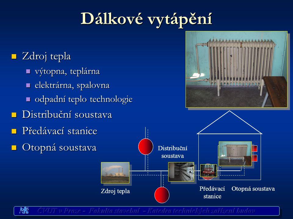 Dálkové vytápění Zdroj tepla Distribuční soustava Předávací stanice