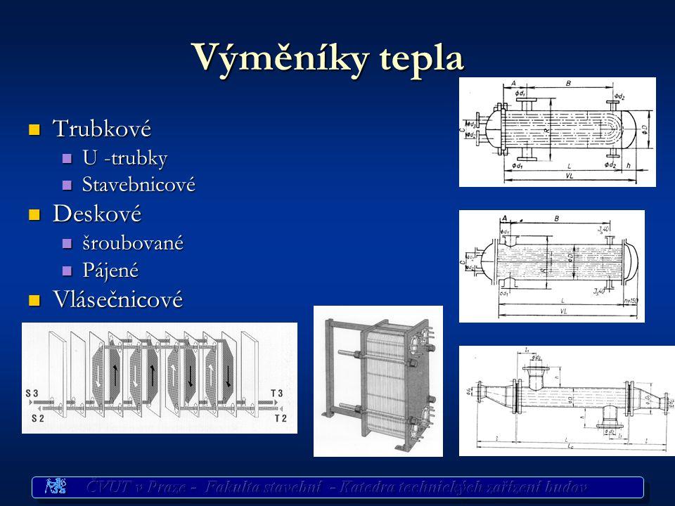 Výměníky tepla Trubkové Deskové Vlásečnicové U -trubky Stavebnicové