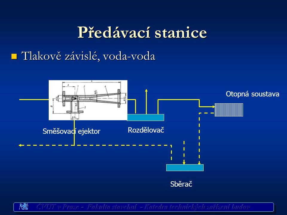 Předávací stanice Tlakově závislé, voda-voda Otopná soustava