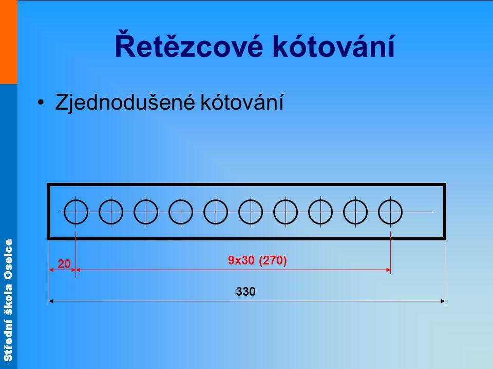 Řetězcové kótování Zjednodušené kótování 20 330 9x30 (270)
