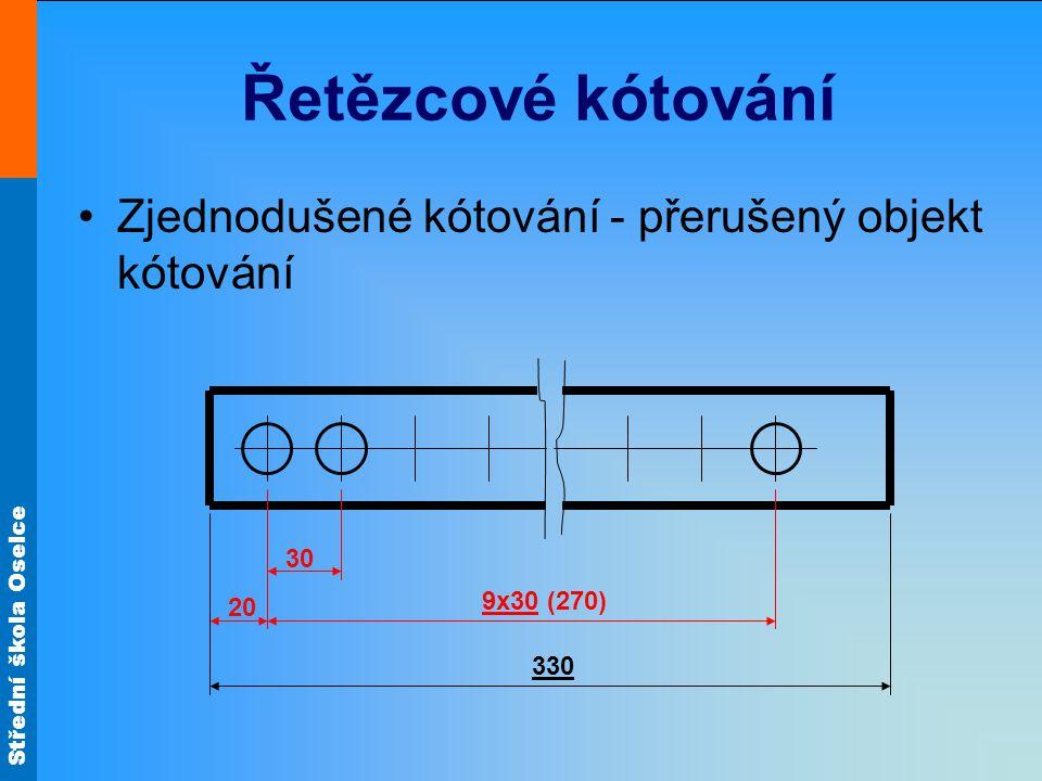 Řetězcové kótování Zjednodušené kótování - přerušený objekt kótování