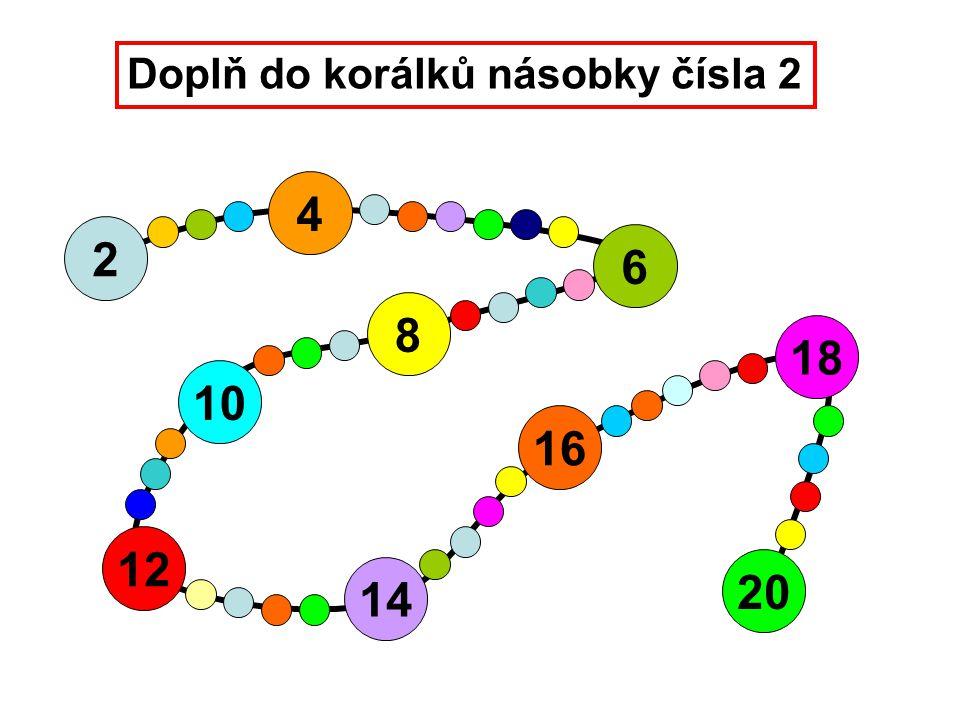 Doplň do korálků násobky čísla 2