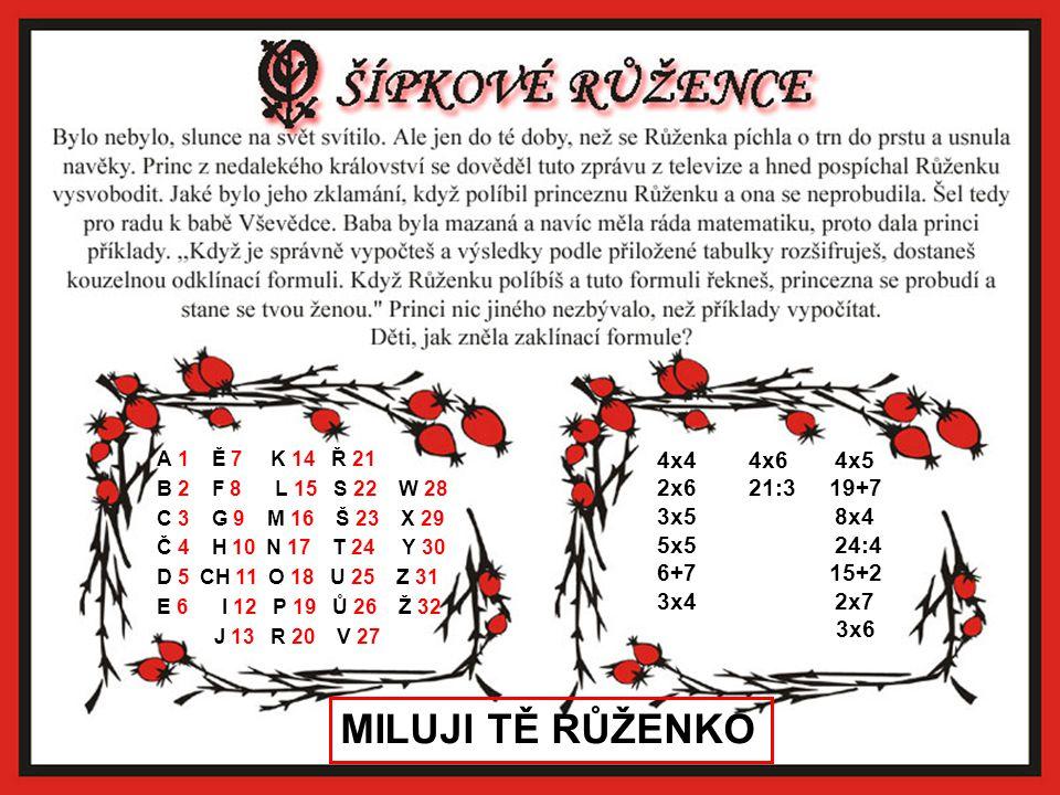MILUJI TĚ RŮŽENKO 4x4 4x6 4x5 2x6 21:3 19+7 3x5 8x4 5x5 24:4 6+7 15+2