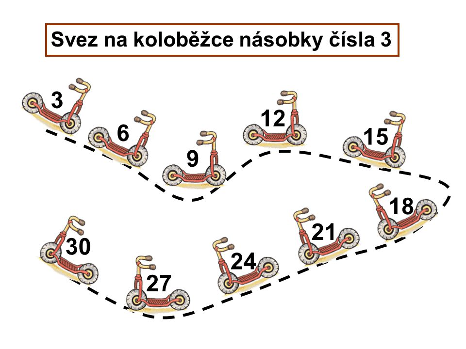 Svez na koloběžce násobky čísla 3