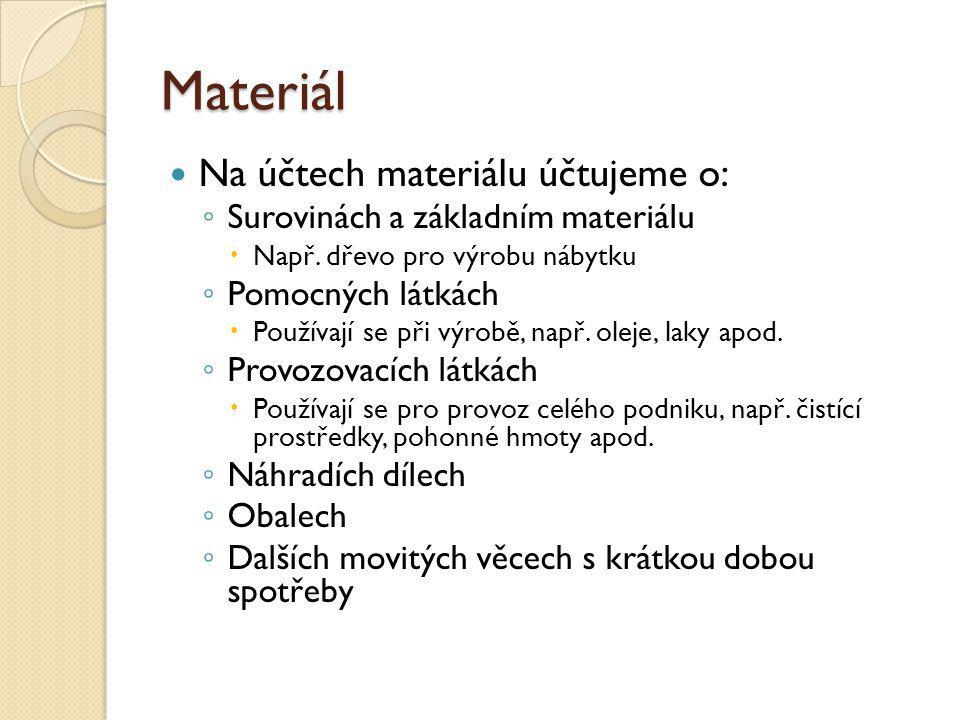 Materiál Na účtech materiálu účtujeme o: