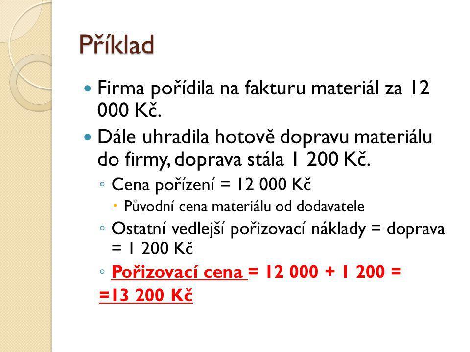 Příklad Firma pořídila na fakturu materiál za 12 000 Kč.