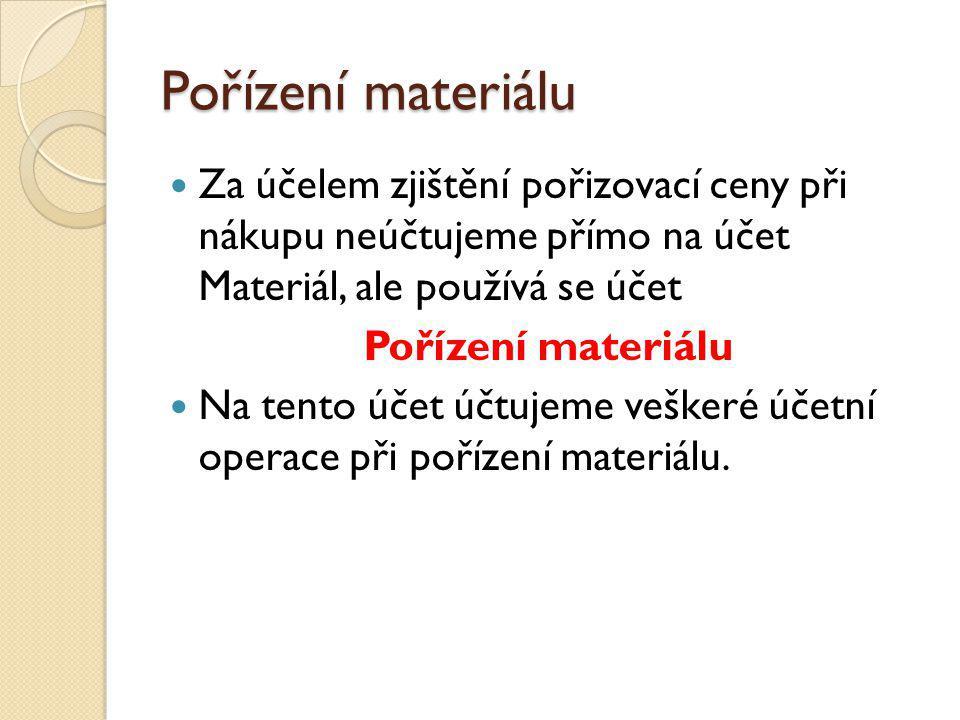 Pořízení materiálu Za účelem zjištění pořizovací ceny při nákupu neúčtujeme přímo na účet Materiál, ale používá se účet.