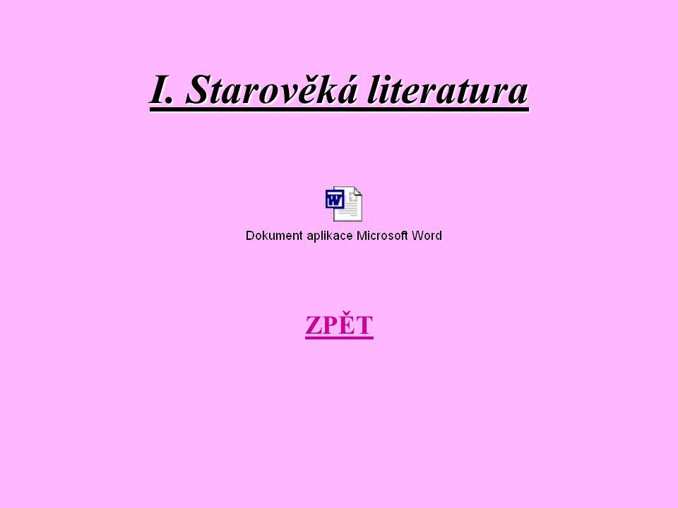 I. Starověká literatura