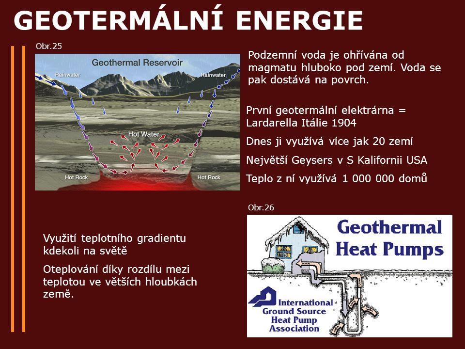 GEOTERMÁLNÍ ENERGIE Obr.25. Podzemní voda je ohřívána od magmatu hluboko pod zemí. Voda se pak dostává na povrch.