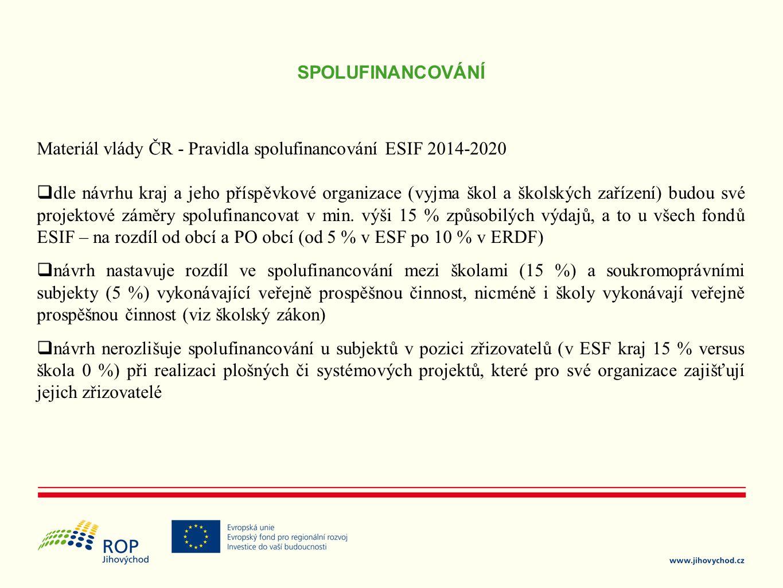 SPOLUFINANCOVÁNÍ Materiál vlády ČR - Pravidla spolufinancování ESIF 2014-2020.