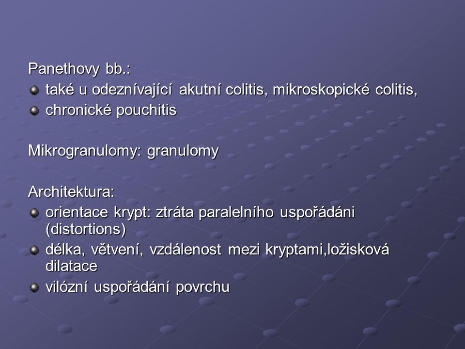Panethovy bb.: také u odeznívající akutní colitis, mikroskopické colitis, chronické pouchitis. Mikrogranulomy: granulomy.