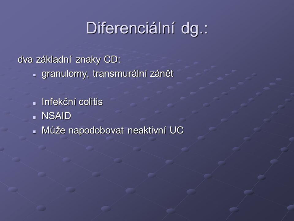 Diferenciální dg.: dva základní znaky CD: