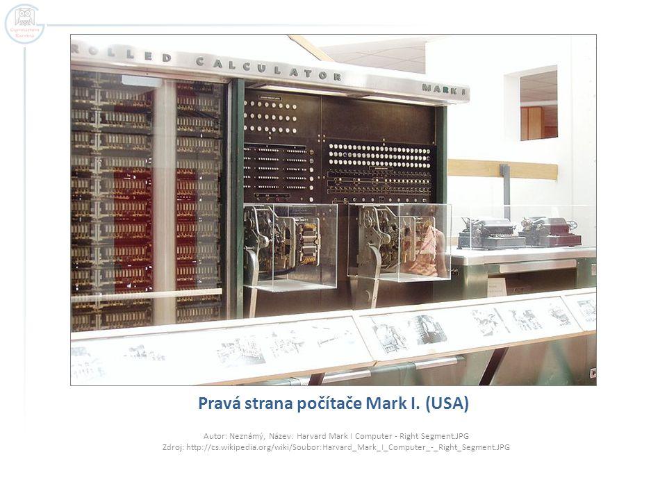 Pravá strana počítače Mark I. (USA)
