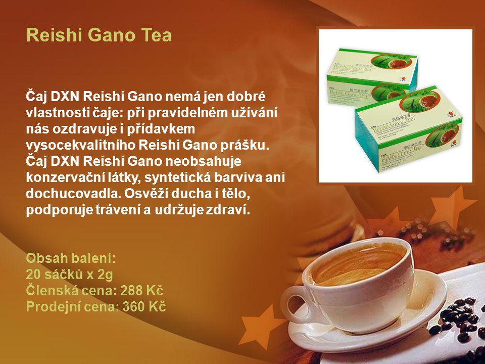 Reishi Gano Tea Čaj DXN Reishi Gano nemá jen dobré vlastnosti čaje: při pravidelném užívání nás ozdravuje i přídavkem vysocekvalitního Reishi Gano prášku.