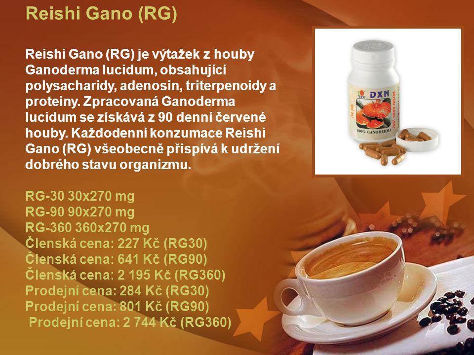 Reishi Gano (RG) Reishi Gano (RG) je výtažek z houby Ganoderma lucidum, obsahující polysacharidy, adenosin, triterpenoidy a proteiny.