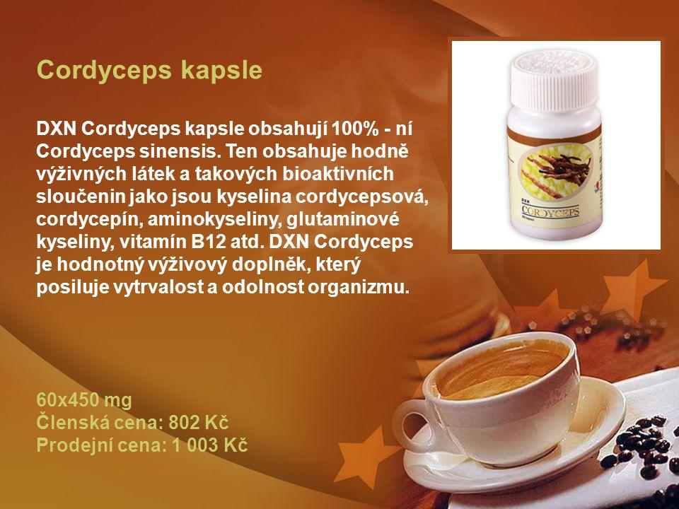 Cordyceps kapsle DXN Cordyceps kapsle obsahují 100% - ní Cordyceps sinensis.