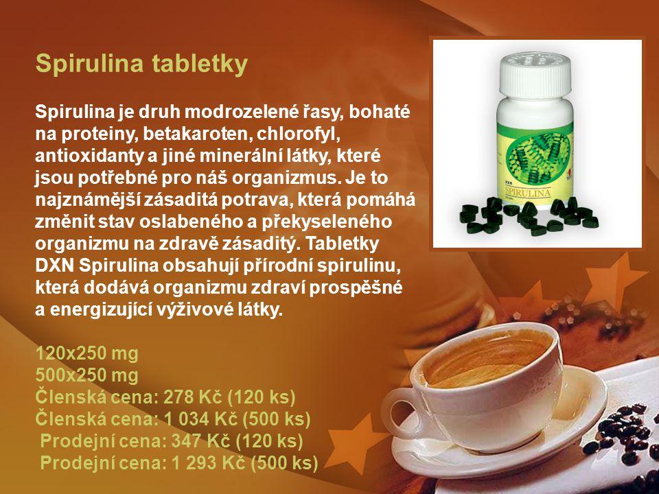 Spirulina tabletky Spirulina je druh modrozelené řasy, bohaté na proteiny, betakaroten, chlorofyl, antioxidanty a jiné minerální látky, které jsou potřebné pro náš organizmus.