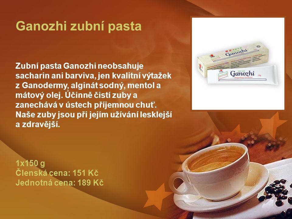 Ganozhi zubní pasta Zubní pasta Ganozhi neobsahuje sacharin ani barviva, jen kvalitní výtažek z Ganodermy, alginát sodný, mentol a mátový olej.