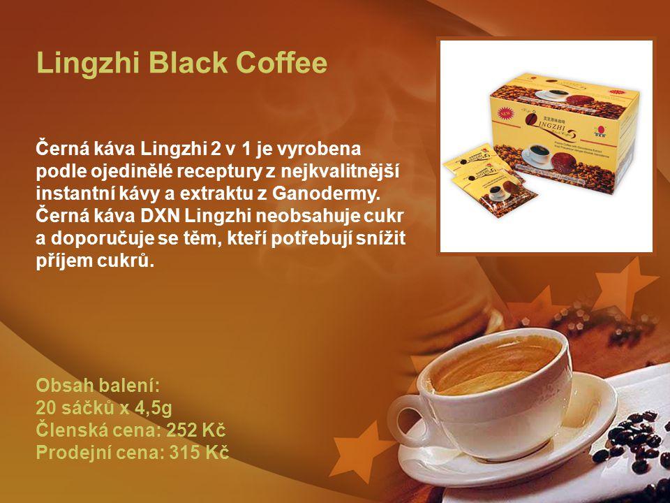Lingzhi Black Coffee Černá káva Lingzhi 2 v 1 je vyrobena podle ojedinělé receptury z nejkvalitnější instantní kávy a extraktu z Ganodermy.