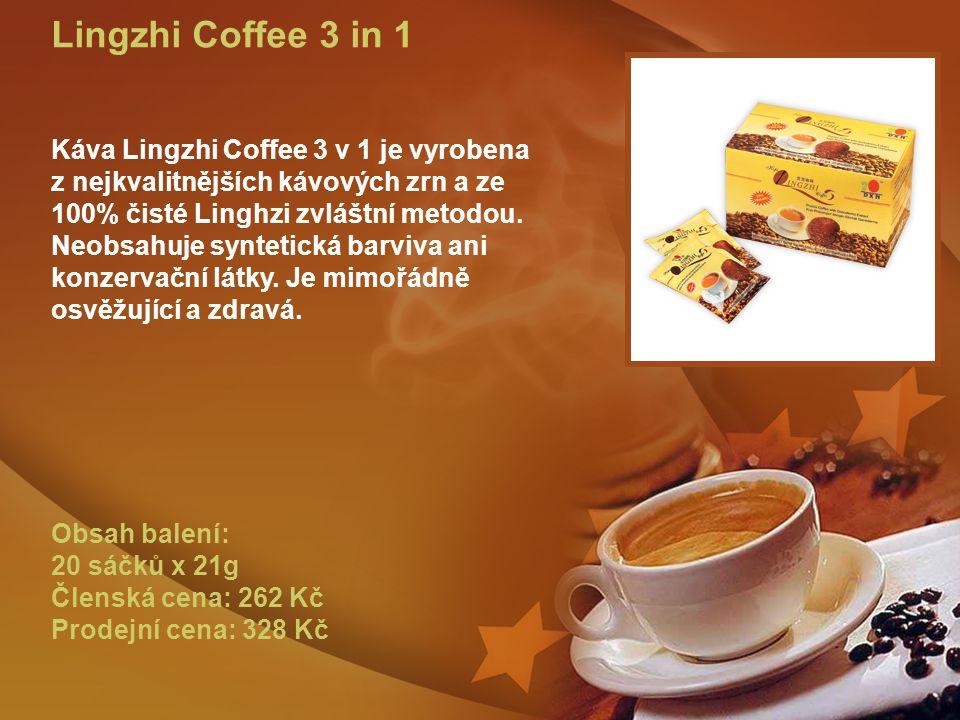 Lingzhi Coffee 3 in 1 Káva Lingzhi Coffee 3 v 1 je vyrobena z nejkvalitnějších kávových zrn a ze 100% čisté Linghzi zvláštní metodou.