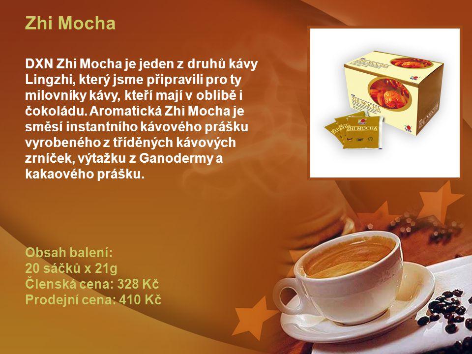 Zhi Mocha DXN Zhi Mocha je jeden z druhů kávy Lingzhi, který jsme připravili pro ty milovníky kávy, kteří mají v oblibě i čokoládu.