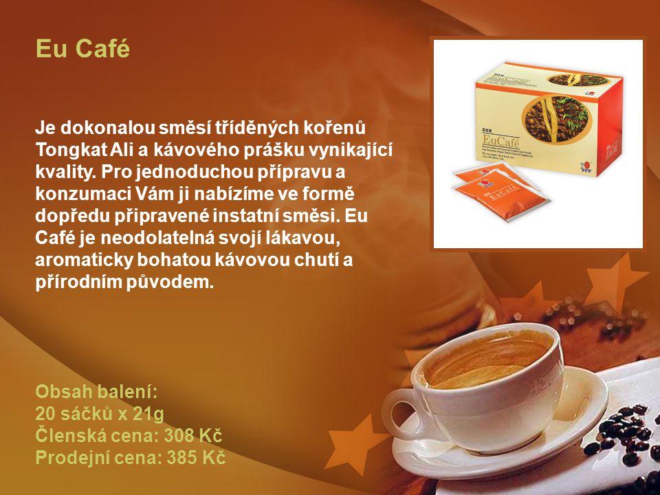 Eu Café Je dokonalou směsí tříděných kořenů Tongkat Ali a kávového prášku vynikající kvality.