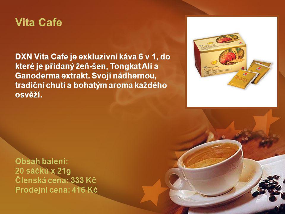 Vita Cafe DXN Vita Cafe je exkluzivní káva 6 v 1, do které je přidaný žeň-šen, Tongkat Ali a Ganoderma extrakt.