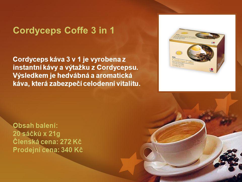 Cordyceps Coffe 3 in 1 Cordyceps káva 3 v 1 je vyrobena z instantní kávy a výtažku z Cordycepsu.