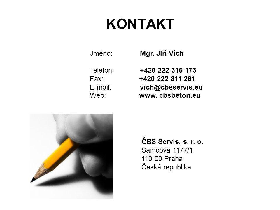 KONTAKT Jméno: Mgr. Jiří Vích Telefon: +420 222 316 173