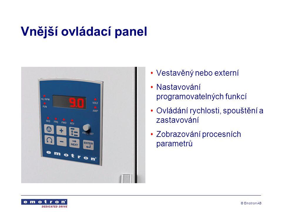 Vnější ovládací panel Vestavěný nebo externí