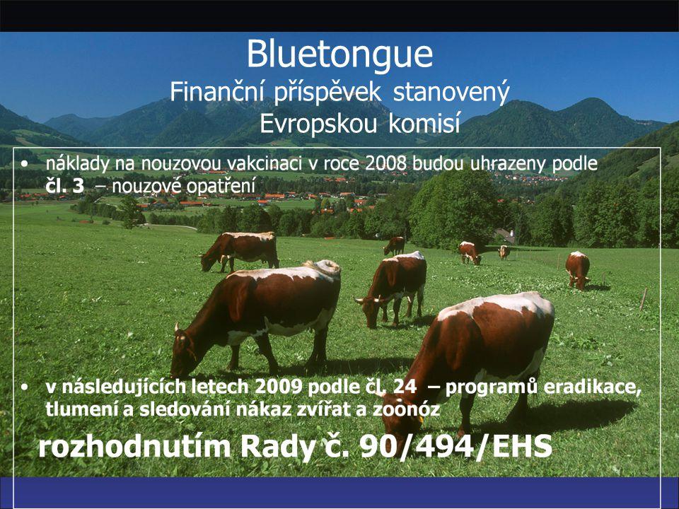 Bluetongue Finanční příspěvek stanovený Evropskou komisí