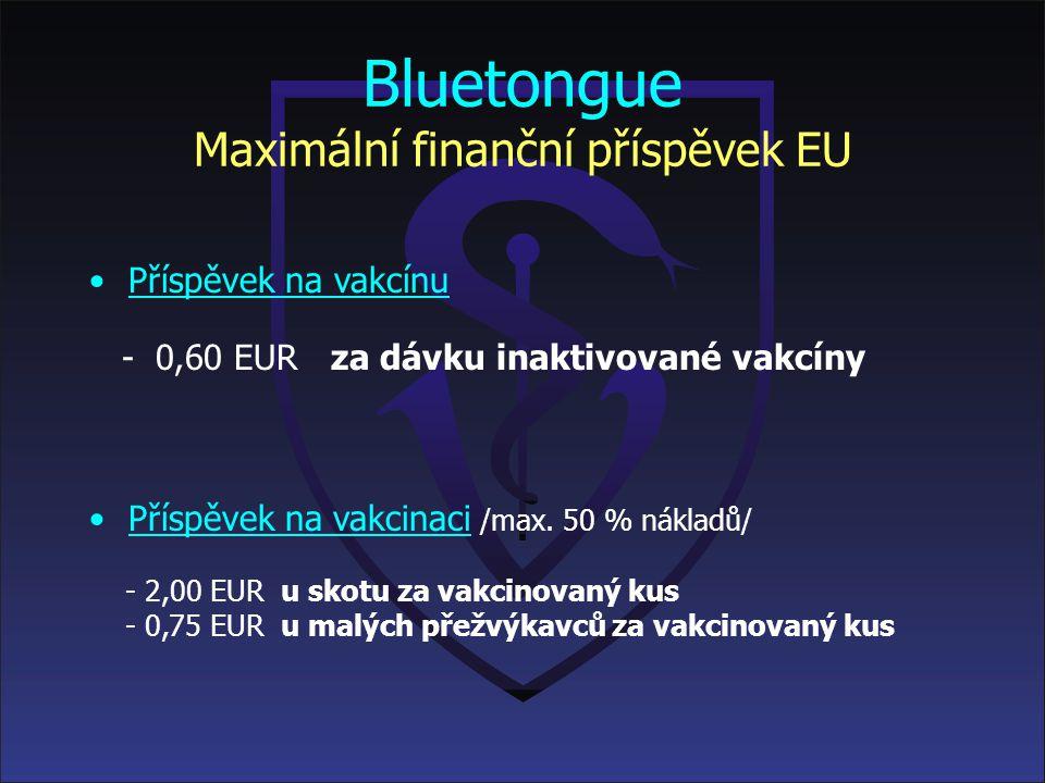 Bluetongue Maximální finanční příspěvek EU