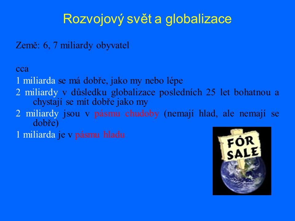 Rozvojový svět a globalizace