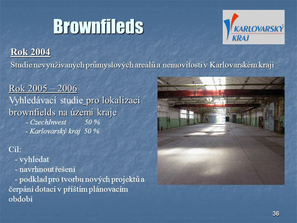 Brownfileds Rok 2004. Studie nevyužívaných průmyslových areálů a nemovitostí v Karlovarském kraji.
