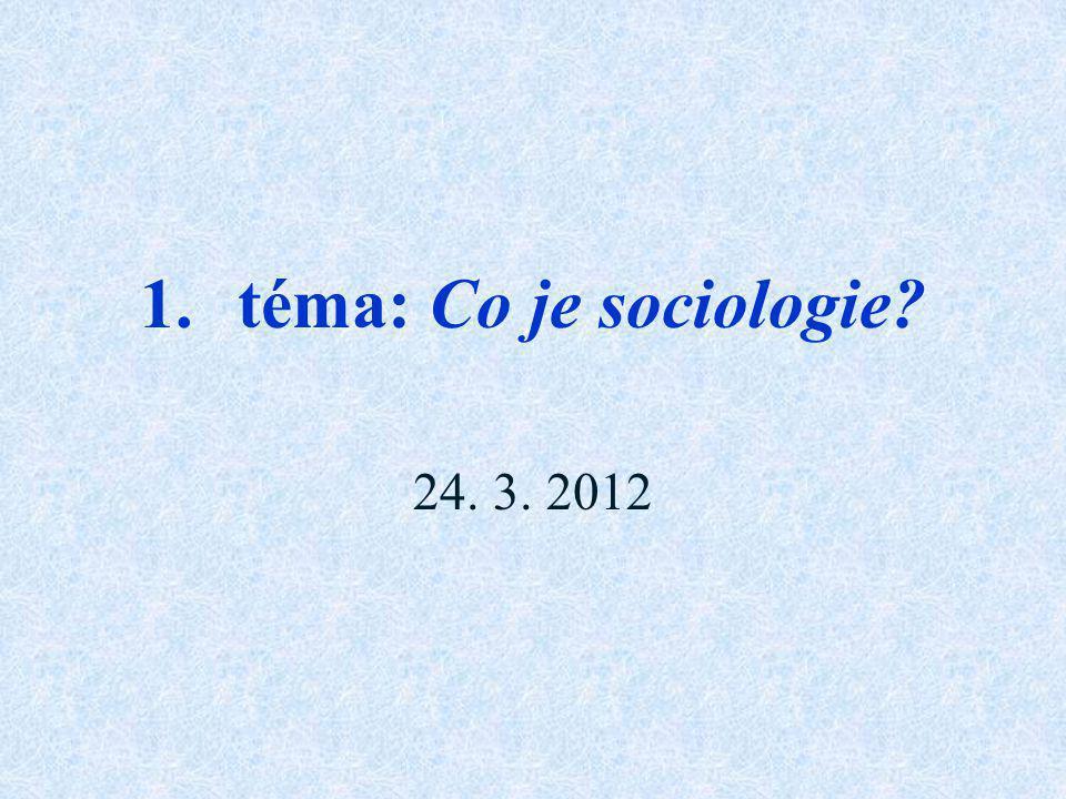 téma: Co je sociologie. 24. 3. 2012. Na úvod, co jsou to sociální vědy.
