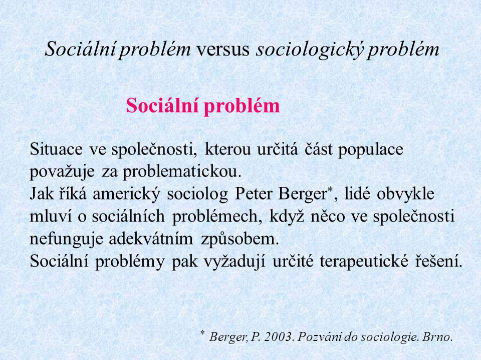 Sociální problém versus sociologický problém
