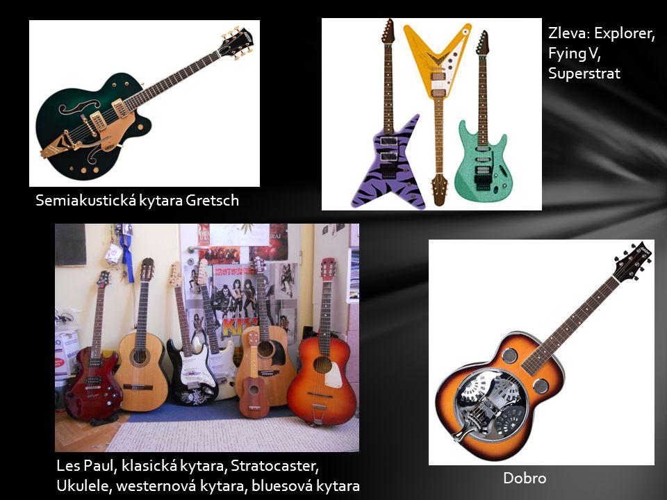 Druhy kytar Zleva: Explorer, Fying V, Superstrat