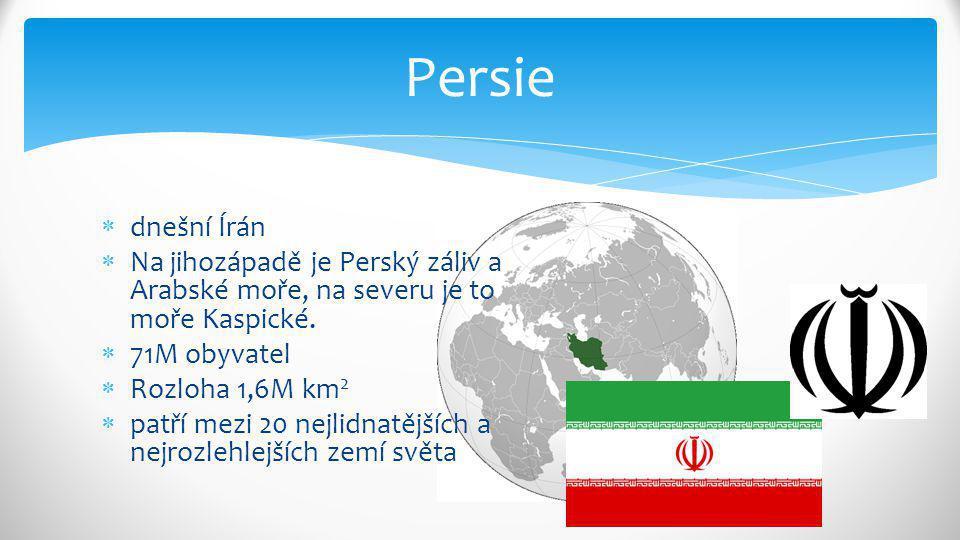 Persie dnešní Írán. Na jihozápadě je Perský záliv a Arabské moře, na severu je to moře Kaspické. 71M obyvatel.