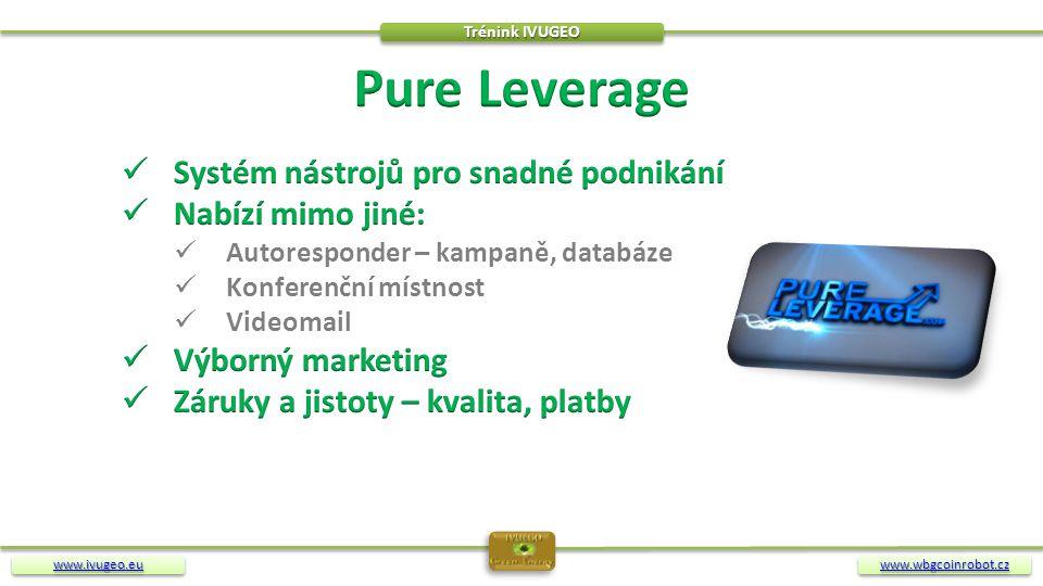 Pure Leverage Systém nástrojů pro snadné podnikání Nabízí mimo jiné:
