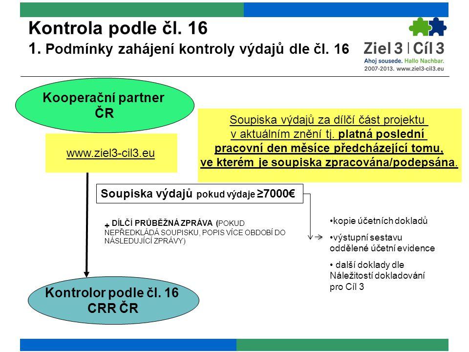 Kontrola podle čl. 16 1. Podmínky zahájení kontroly výdajů dle čl. 16