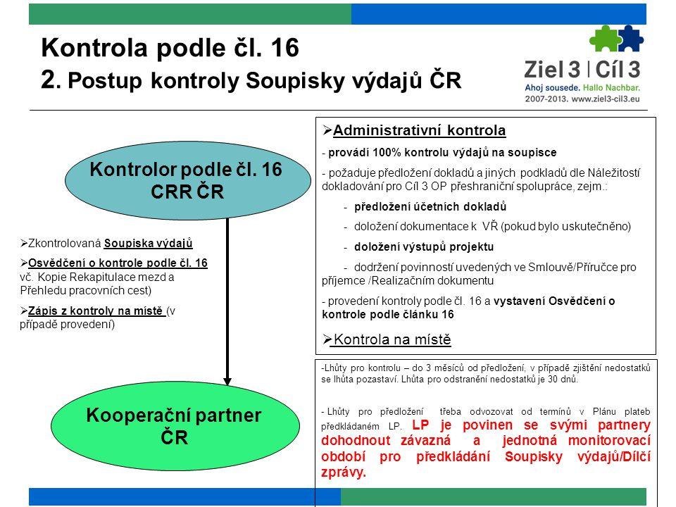 Kontrola podle čl. 16 2. Postup kontroly Soupisky výdajů ČR