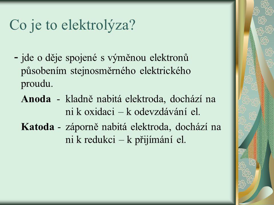 Co je to elektrolýza - jde o děje spojené s výměnou elektronů působením stejnosměrného elektrického proudu.
