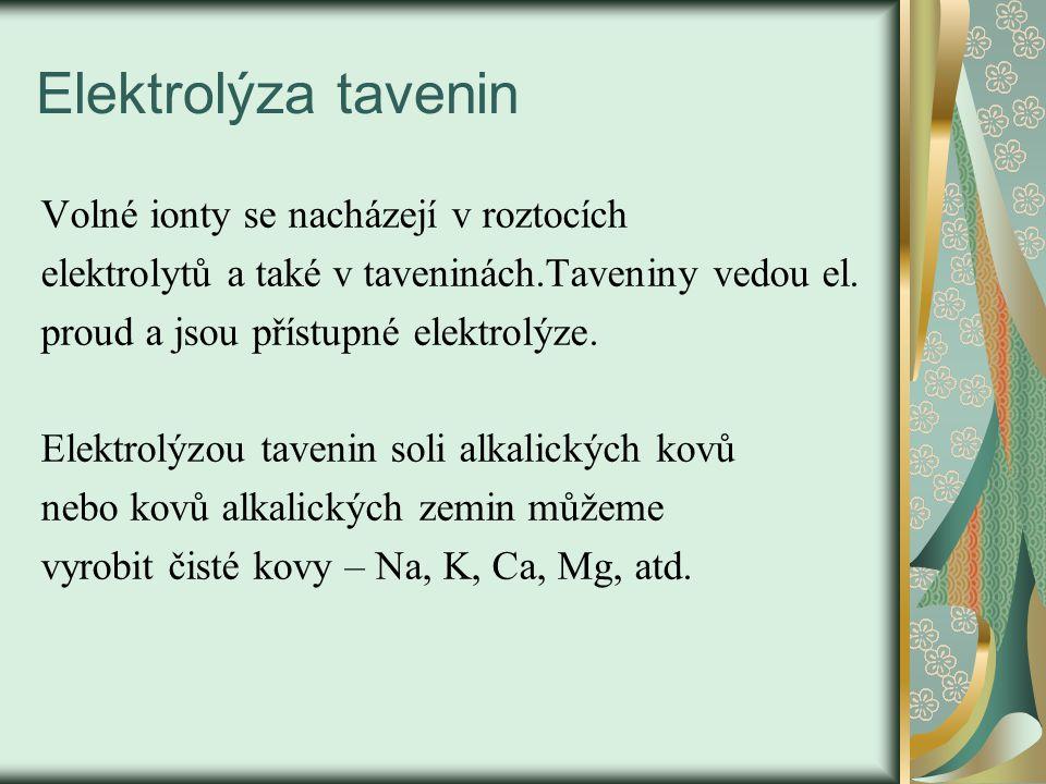 Elektrolýza tavenin Volné ionty se nacházejí v roztocích