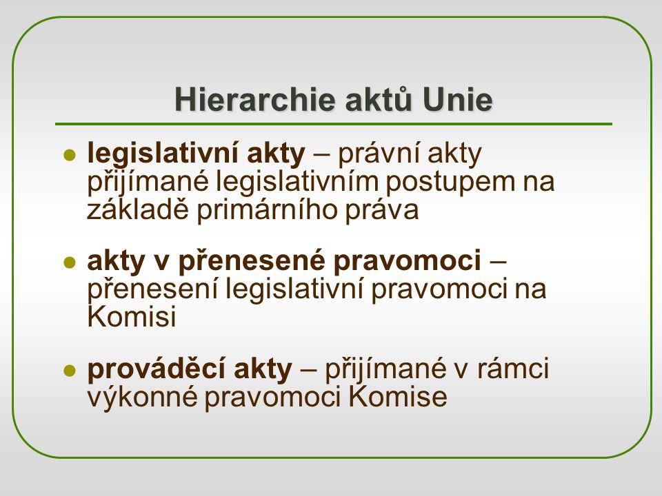 Hierarchie aktů Unie legislativní akty – právní akty přijímané legislativním postupem na základě primárního práva.