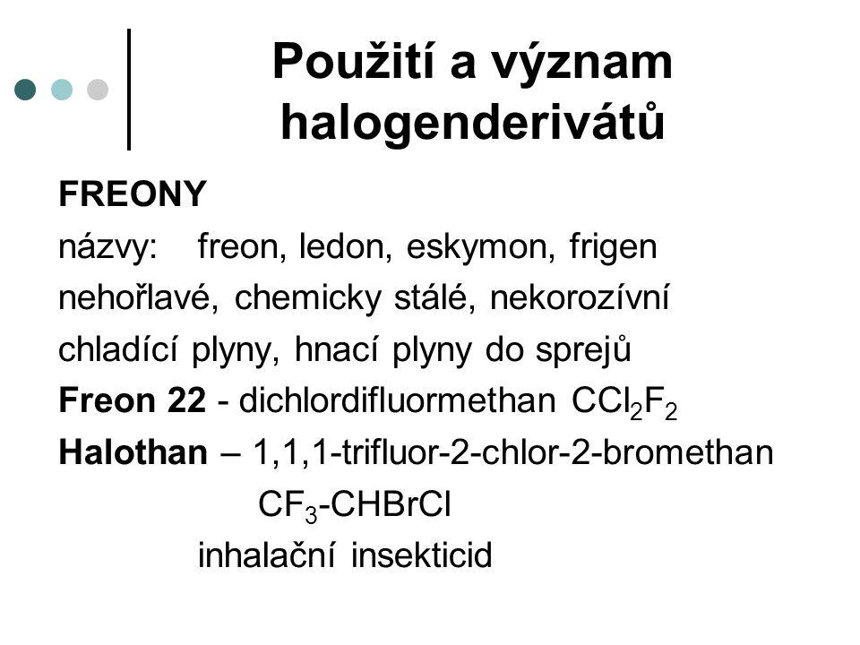 Použití a význam halogenderivátů