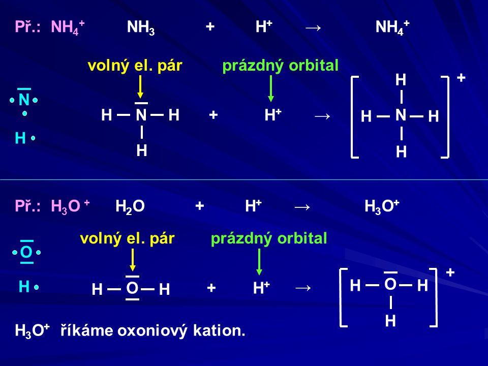 Př.: NH4+ NH3 + H+ → NH4+ volný el. pár. prázdný orbital. N.