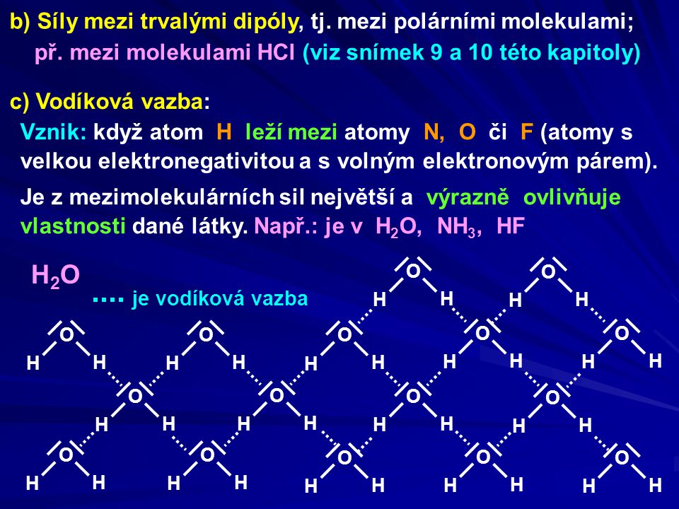 H2O b) Síly mezi trvalými dipóly, tj. mezi polárními molekulami;