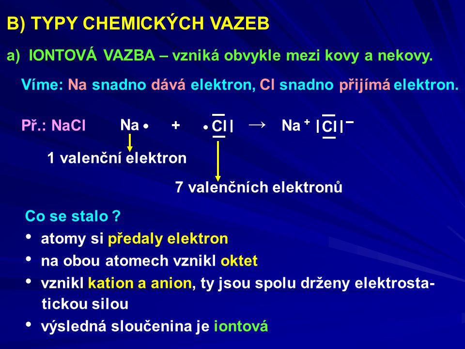 B) TYPY CHEMICKÝCH VAZEB