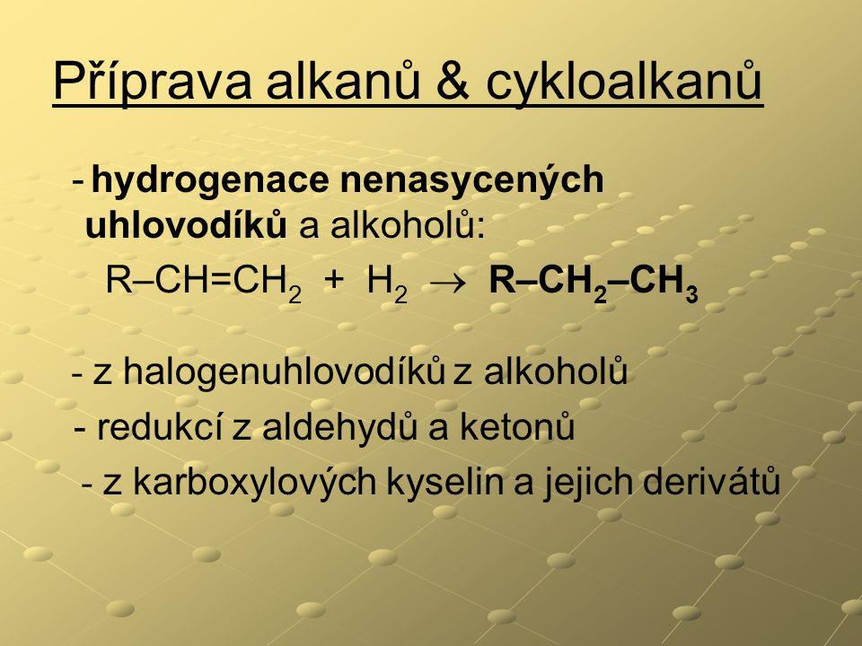 Příprava alkanů & cykloalkanů
