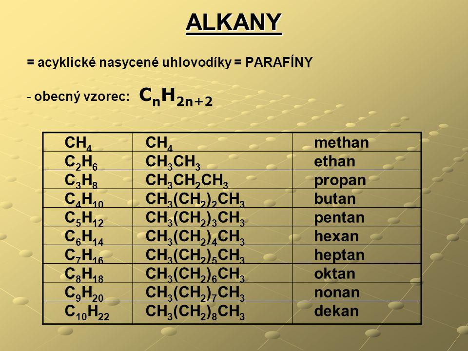 ALKANY CH4 methan C2H6 CH3CH3 ethan C3H8 CH3CH2CH3 propan C4H10